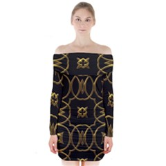 Black And Gold Pattern Elegant Geometric Design Long Sleeve Off Shoulder Dress