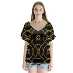 Black And Gold Pattern Elegant Geometric Design Flutter Sleeve Top