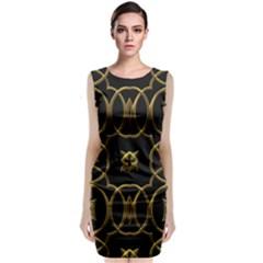 Black And Gold Pattern Elegant Geometric Design Sleeveless Velvet Midi Dress