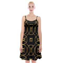 Black And Gold Pattern Elegant Geometric Design Spaghetti Strap Velvet Dress