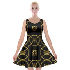 Black And Gold Pattern Elegant Geometric Design Velvet Skater Dress