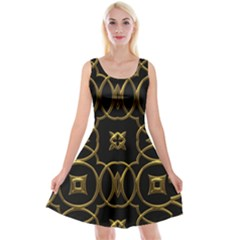 Black And Gold Pattern Elegant Geometric Design Reversible Velvet Sleeveless Dress