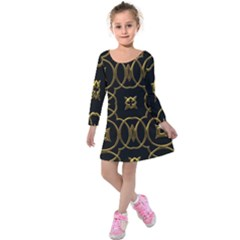 Black And Gold Pattern Elegant Geometric Design Kids  Long Sleeve Velvet Dress