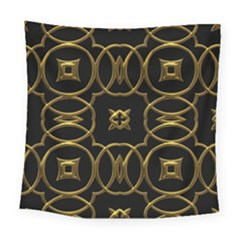 Black And Gold Pattern Elegant Geometric Design Square Tapestry (Large)