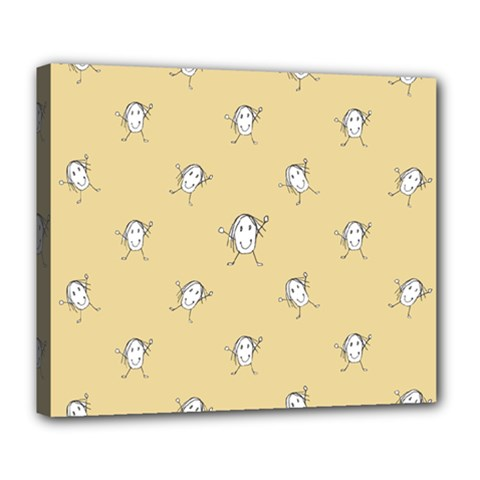 Happy Character Kids Motif Pattern Deluxe Canvas 24  x 20