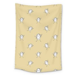 Happy Character Kids Motif Pattern Large Tapestry