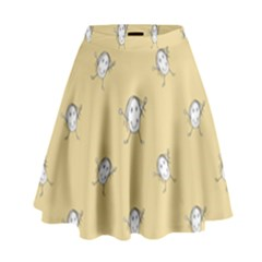 Happy Character Kids Motif Pattern High Waist Skirt