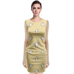 Happy Character Kids Motif Pattern Sleeveless Velvet Midi Dress