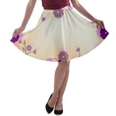 Background Floral Background A Line Skater Skirt