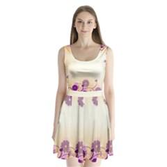 Background Floral Background Split Back Mini Dress