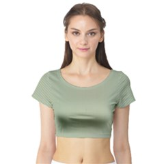 Background Pattern Green Short Sleeve Crop Top (tight Fit)