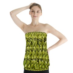 Basket Woven Braid Wicker Strapless Top