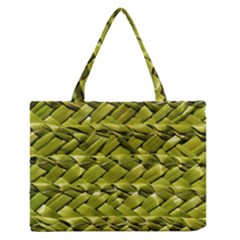 Basket Woven Braid Wicker Medium Zipper Tote Bag