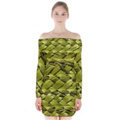 Basket Woven Braid Wicker Long Sleeve Off Shoulder Dress