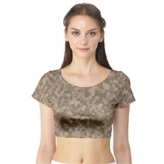 Camouflage Tarn Texture Pattern Short Sleeve Crop Top (tight Fit)