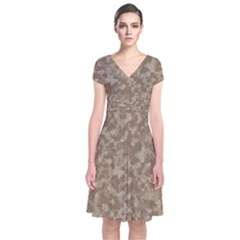 Camouflage Tarn Texture Pattern Short Sleeve Front Wrap Dress