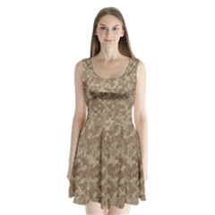 Camouflage Tarn Texture Pattern Split Back Mini Dress