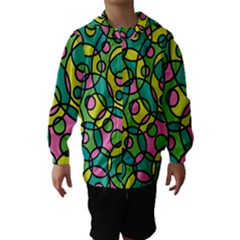 Circle Background Background Texture Hooded Wind Breaker (Kids)