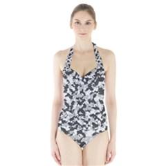 Camouflage Tarn Texture Pattern Halter Swimsuit