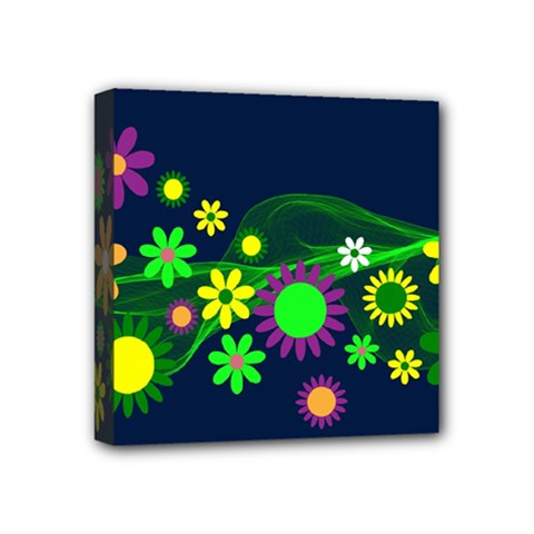 Flower Power Flowers Ornament Mini Canvas 4  X 4