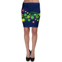 Flower Power Flowers Ornament Bodycon Skirt