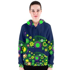 Flower Power Flowers Ornament Women s Zipper Hoodie