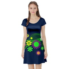 Flower Power Flowers Ornament Short Sleeve Skater Dress