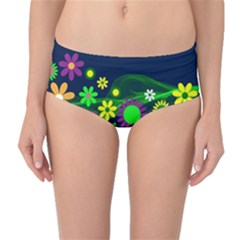 Flower Power Flowers Ornament Mid-Waist Bikini Bottoms