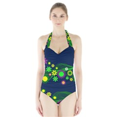 Flower Power Flowers Ornament Halter Swimsuit