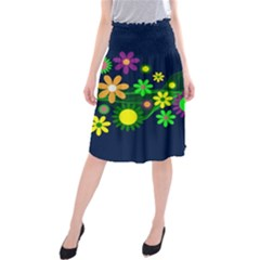 Flower Power Flowers Ornament Midi Beach Skirt