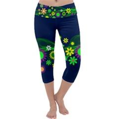 Flower Power Flowers Ornament Capri Yoga Leggings