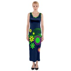 Flower Power Flowers Ornament Fitted Maxi Dress