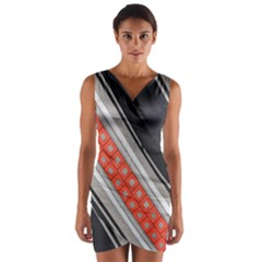 Bed Linen Microfibre Pattern Wrap Front Bodycon Dress
