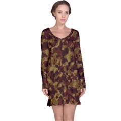 Camouflage Tarn Forest Texture Long Sleeve Nightdress