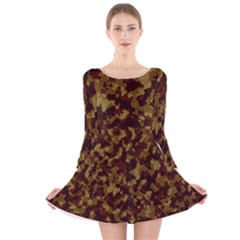 Camouflage Tarn Forest Texture Long Sleeve Velvet Skater Dress