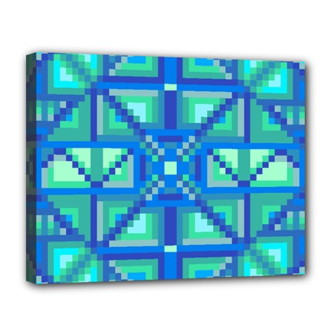 Grid Geometric Pattern Colorful Canvas 14  x 11