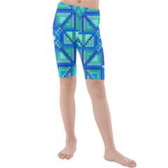Grid Geometric Pattern Colorful Kids  Mid Length Swim Shorts