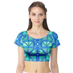 Grid Geometric Pattern Colorful Short Sleeve Crop Top (tight Fit)