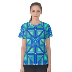 Grid Geometric Pattern Colorful Women s Cotton Tee