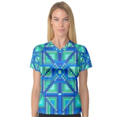 Grid Geometric Pattern Colorful Women s V Neck Sport Mesh Tee