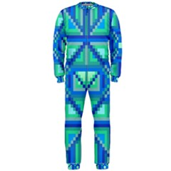 Grid Geometric Pattern Colorful Onepiece Jumpsuit (men)