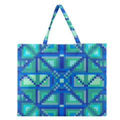 Grid Geometric Pattern Colorful Zipper Large Tote Bag
