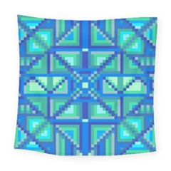 Grid Geometric Pattern Colorful Square Tapestry (Large)