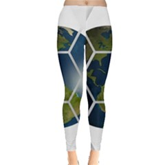 Hexagon Diamond Earth Globe Leggings