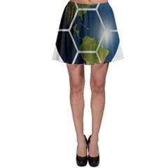 Hexagon Diamond Earth Globe Skater Skirt