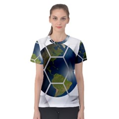 Hexagon Diamond Earth Globe Women s Sport Mesh Tee