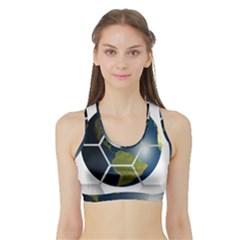 Hexagon Diamond Earth Globe Sports Bra with Border