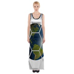 Hexagon Diamond Earth Globe Maxi Thigh Split Dress