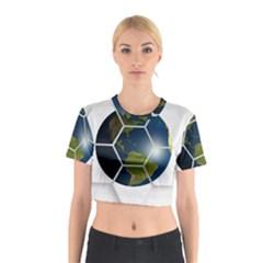 Hexagon Diamond Earth Globe Cotton Crop Top