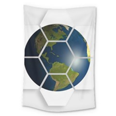 Hexagon Diamond Earth Globe Large Tapestry